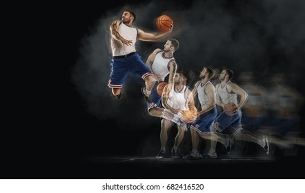 basketball player jumping with ball on black bakground. collage