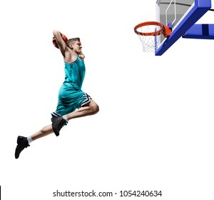 basketball player making slam dunk isolated