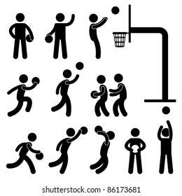 Basketball Player People Icon Sign Symbol Pictogram