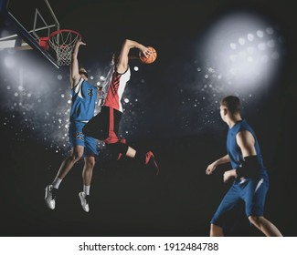 Basketball player players in action. Basketball concept on dark background. Matte image