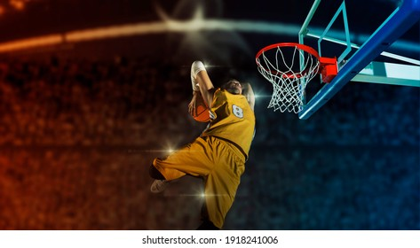 Basketball player players in action on arena background. Matte image