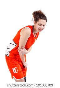 Basketball player woman with elbow pain