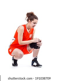 Basketball player woman having knee pain isolated on a white background