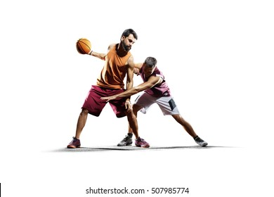 Basketball players in action isolated on white