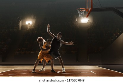 Basketball players fight for a ball during a professional match