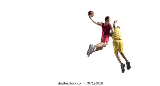Basketball players on a white background. Isolated basketball player in unbrand clothes.