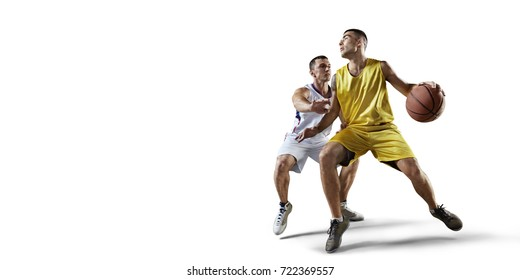 Basketball players on a white background during the game. Isolated basketball players in unbranded clothes.
