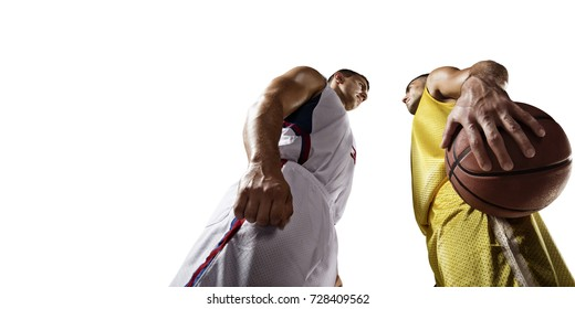 Basketball players on a white background. Isolated basketball players in unbranded clothes. Two players face to face.