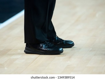 basketball referee shoes on the floor in the gym