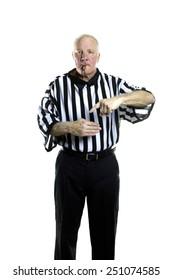 Basketball referee signaling a Basket Interference violation foul