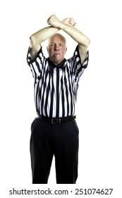 Basketball referee signaling a Double Foul