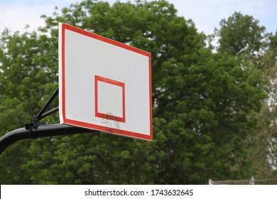 Basketball rims have been taken off the backboard due to Covid-19 concerns, and closure of the city park.