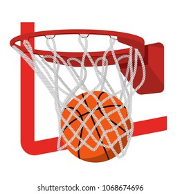 Basketball ring with ball  illustration.