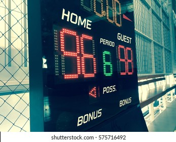 Basketball score table or scoreboard.