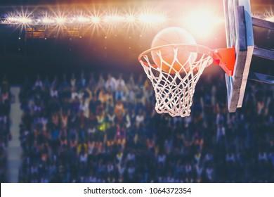 basketball scoring during match in the stadium