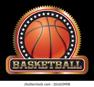 Basketball Seal or Emblem is an illustration of a basketball design including basketball, stars and a large basketball banner. Great for t-shirts.