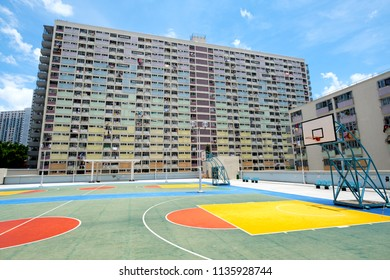Basketball stand with Old public housing in Hong Kong