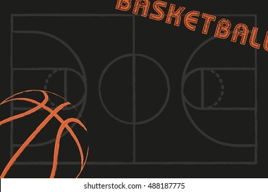 Basketball and streetball poster or flyer background with space