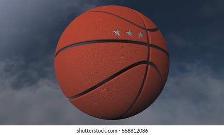 Basketball with three stars. 3D illustration. 3D CG. High resolution.