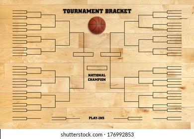 Basketball tournament bracket superimposed on a wood gym floor
