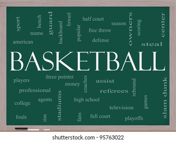 Basketball Word Cloud Concept on a Chalkboard with great terms such as steal, rebound, slam dunk, center, assist, games and more.