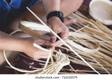 basketry with bamboo for make hat