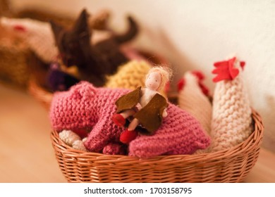 Baskets with colored wool dolls waldorf.