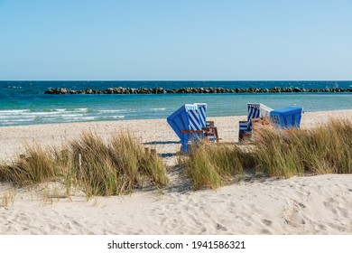 Baskets on a fine sandy beach on the Baltic Sea coast of Schleswig-Holstein