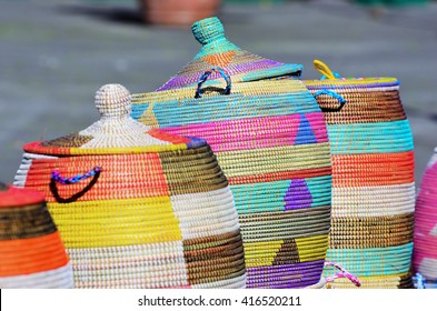 A lot of baskets of sea grass made by women in Africa from Senegal, Congo, and Angola