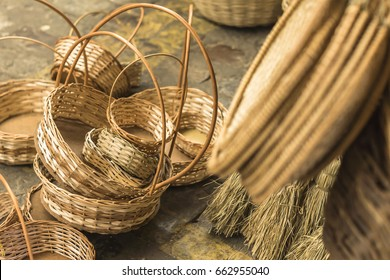 Baskets and several pieces in straw at a handicraft store in Aracaju Brazil