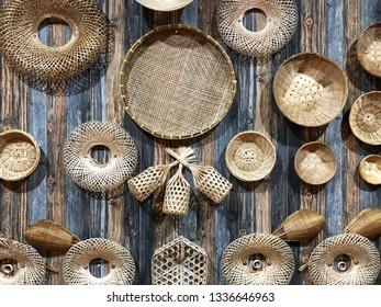 Basketwork or wickerwork for OTOP Exhibition, Basketwork or wickerwork on wooden background