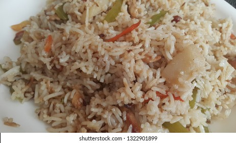 Basmati Rice Pulao or pulav with chana, or vegetable rice using chana also known as chana pulao