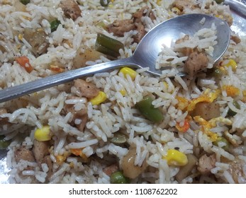 Basmati Rice Pulao or pulav with Peas, or vegetable rice using green peas also known as matar pulao