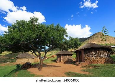 A Basotho vilage in the Highlands of Maluti Mountains - Near Ribaneng , Malealea , Lesotho