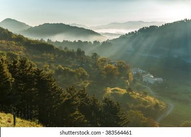 Basque Country Spain Landscape near the Village Orio