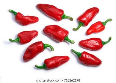 Basque Gorria Espelette-type chile peppers, short pods (C. annuum), top view. Clipping paths, shadows separated