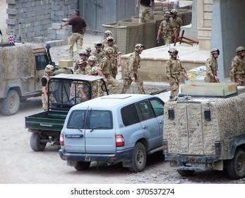 BASRA, IRAQ - CIRCA MAY 2007: British military troops at a forward operating base that incorporated Sadaam-era palaces