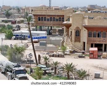 BASRA, IRAQ - CIRCA MAY 2007: Sadaam-era palace buildings used by the British military as a Forward Operating Base, seen from above
