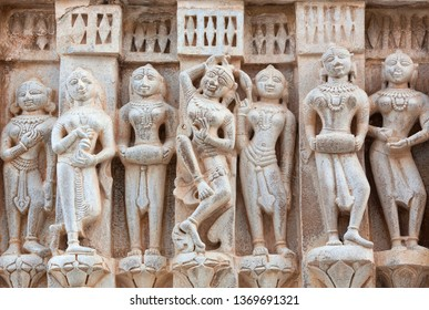 Bas-relief with Apsaras at famous ancient Jagdish Temple in Udaipur, Rajasthan, India. It has been in continuous worship since 1651.