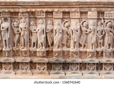 Bas-relief with Apsaras in famous ancient Ranakpur Jain temple in Rajasthan state, India