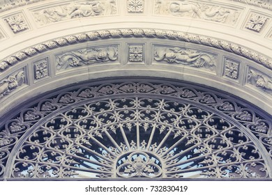 The bas-relief. Architectural detail. Bologna, Italy