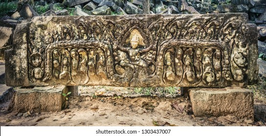 Bas-relief at Beng Mealea or Bung Mealea temple. Siem Reap. Cambodia. Panorama