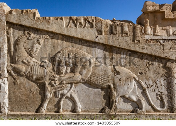 Basrelief Carvings Persepolis Shiraz Iran The Arts Stock Image 1403055509