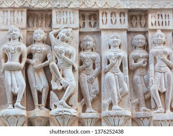 Bas-relief with dancing Apsaras at famous ancient Jagdish Temple in Udaipur, Rajasthan, India. It has been in continuous worship since 1651.