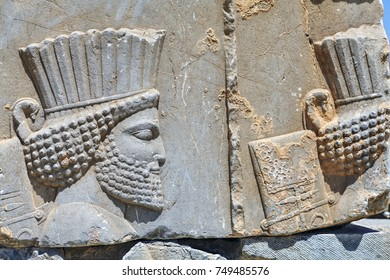 A bas-relief depicting a warrior in Iran's most famous tourist spot, an open-air museum of the ancient Persian city of Persepolis, located not far from Shiraz.