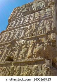 Bas-relief depicts guards - warriors of king. Ancient relief on the wall of the ruined city of Persepolis. Iran. Ancient city Persepolis- one of UNESCO World Heritage Sites.