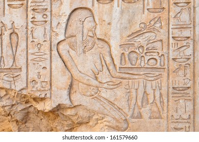 Bas-relief details in Medinet Habu temple, Luxor, Egypt