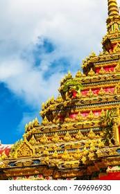 bas-relief Facade Close up of beautiful temple Wat Samai Kongka on Ko Pha Ngan, Thailand.