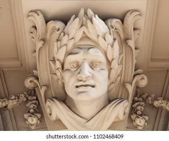 Bas-relief of the face of the Roman emperor Guy Julius Caesar