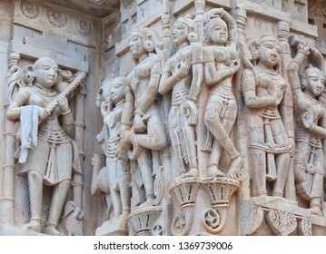 Bas-relief at famous ancient Jagdish Temple in Udaipur, Rajasthan, India. It has been in continuous worship since 1651.
